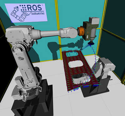Simulated motion plan for a surface processing operation using an industrial robotic work cell.