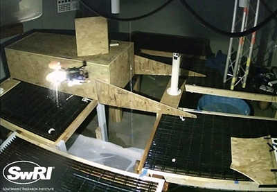 UAS autonomously flying in a confined space containing dripping water.