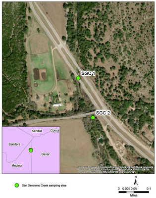 Satellite map view of San Geronimo Creek sampling sites