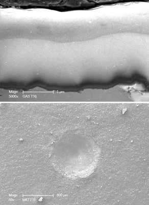 (top) cross-sectional SEM micrograph of a thick DLC coating deposited on the interior surface of a long stainless steel pipe. (bottom) HRC indentation performed on the surface of coating showing no coating delamination or cracking