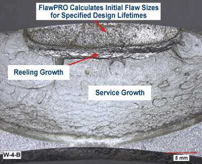Illustration of failure from reeling and service fatigue during full-scale testing of pipes.