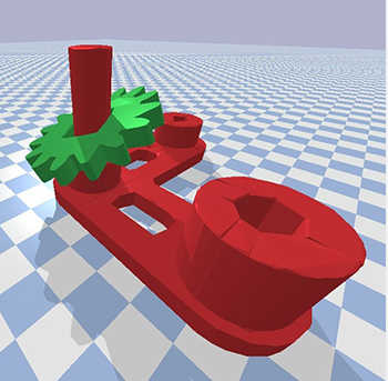 graphic of a red machinery fabrication with a green gear attached