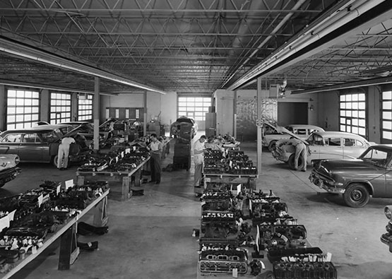 Black and white photo of a SwRI automotive laboratory in the 1950s