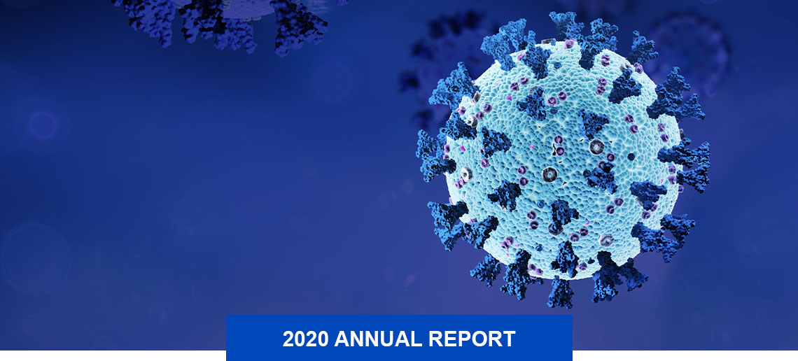 Close up of the COVID-19 virus