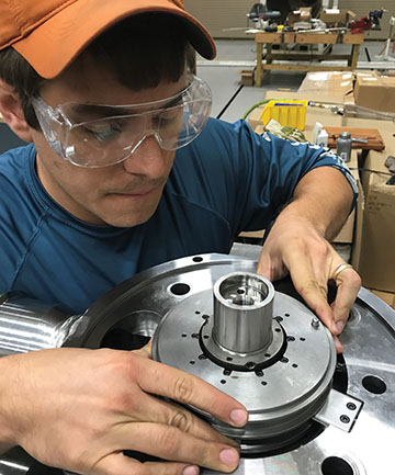 Engineer assembles thrust bearing on the 10 MWe sCO2 turbine