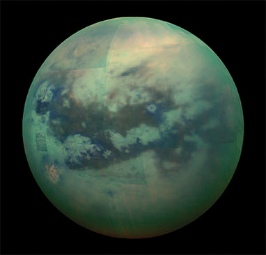 infrared view of Saturn's moon Titan from Cassini