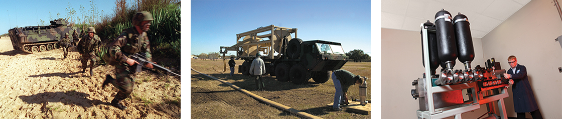 Logistical Report Three images showcasing the military, military vehicles, and testing engine