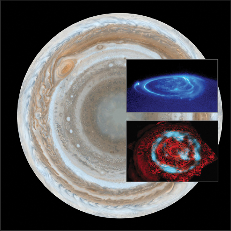 Jupiter's polar magnetosphere and auroras superimposed over planet