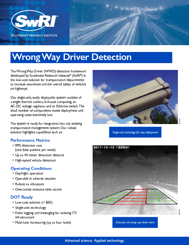 Go to Wrong Way Driver Detection flyer